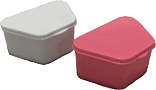 Knightshield Dental 2 pack Denture Cases with strainer basket & lid for false teeth storage. Container cups are a perfect holder for full/partial dentures. Pink & White cases with cleaner baskets.