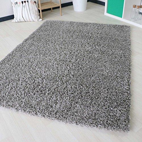 mynes Home Shaggy Hochflor Langflor in versch. Größen und Farben, Unifarbe einfarbig. Bunte Farben (120 x 170 cm, Grau)