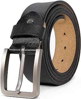 أحزمة JingHao للرجال حزام جلد طبيعي لفستان جينز أسود بني عادي كبير وطويل الحجم 71.12 سم - 162.56 سم