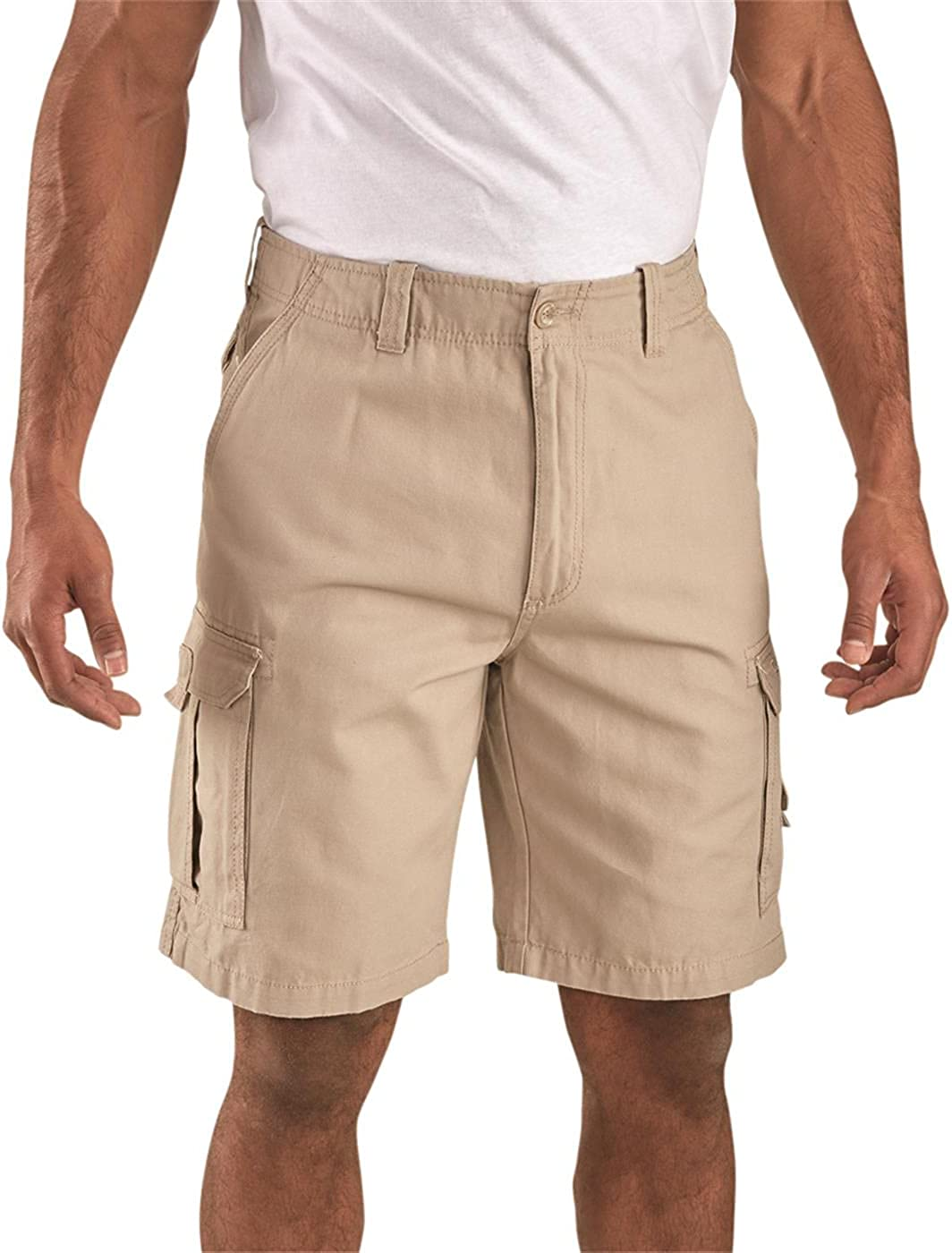 Guide Gear Men's Outdoor Cargo Shorts with Pockets, 100% Cotton Lightweight Casual Summer Bermudas for Camping, Hiking, Lounging, Khaki, W32 L6