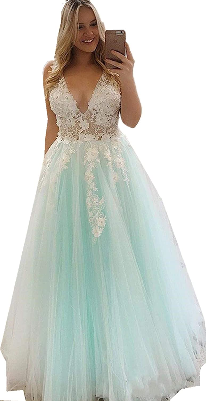 Annadress Elegant Deep V Prom Dresses Long Sleeveless Party Gowns ALine vening Gowns