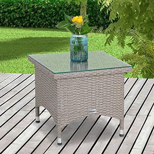 Casaria Poly Rattan Beistelltisch Balkontisch Gartentisch 50x50x45 cm Glasplatte Wetterfest Kaffeetisch Teetisch Garten – Grau Creme - 2