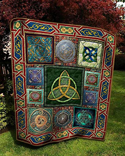 Celtic Art Quilt, Irish Celtic Spiral Triskele Quilt All-Season Warm Quilt King Queen Twin Throw Size - Best Decorative Gifts for Mom Dad Daughter Son