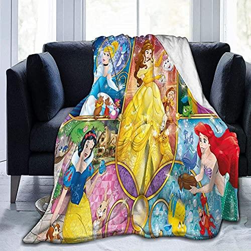 KINGAM Manta de princesa Disney de gran tamaño para adultos y niños, manta súper suave con franela suave antibolitas para adultos y niños con impresión 3D, accesorios de dormitorio bien emparejados