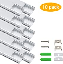 inShareplus LED Aluminum Channel System U Shape With Milk White Cover, End Caps and Mounting Clips, Aluminum Profile for LED Strip Light Installations, U02 Model, 10 Pack, 3.3ft/1 Meter, Silver