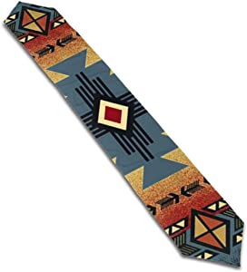 FsszpZZ Long Table Runners Tribal Indian Geometric Southwest Native American Table Runner for Polyester Fabric Placemat Indoor & Outdoor Use 13 X 70 Inches