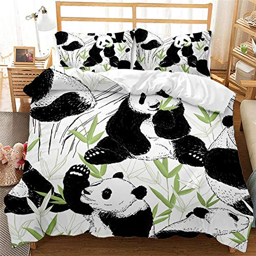 Tanboank Duvet Cover Set Double Size Bedding Set 3 Pieces Animal Panda Printed Quilt Cover 200x200cm with 2 Pillowcases 3D Soft Microfiber Polyester Warm Anti fading with Zipper