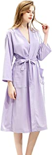 LANBAOSI Women Summer Robes Lightweight Quick Dry Solid Color Spa Robe Knee Length Belt Bathrobes with Pocket