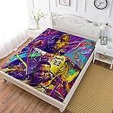 Sábana bajera ajustable para niños de dibujos animados 3D, Leb_ron J_ames suave de tela decorativa con bolsillo elástico completo, tamaño queen, decoración de ropa de cama para niños