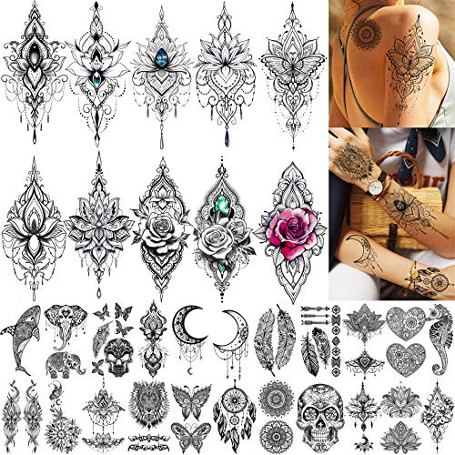 TASROI 32 Sheets Sexy Black Henna Temporary Tattoos For Women Girls Mehnid Lace Tatoo Sticker Neck, Mandala Flower Butterfly Lotus Rose Tattoo Temporary Dreamcatcher Elephant Henna Tattoo Kit Adults