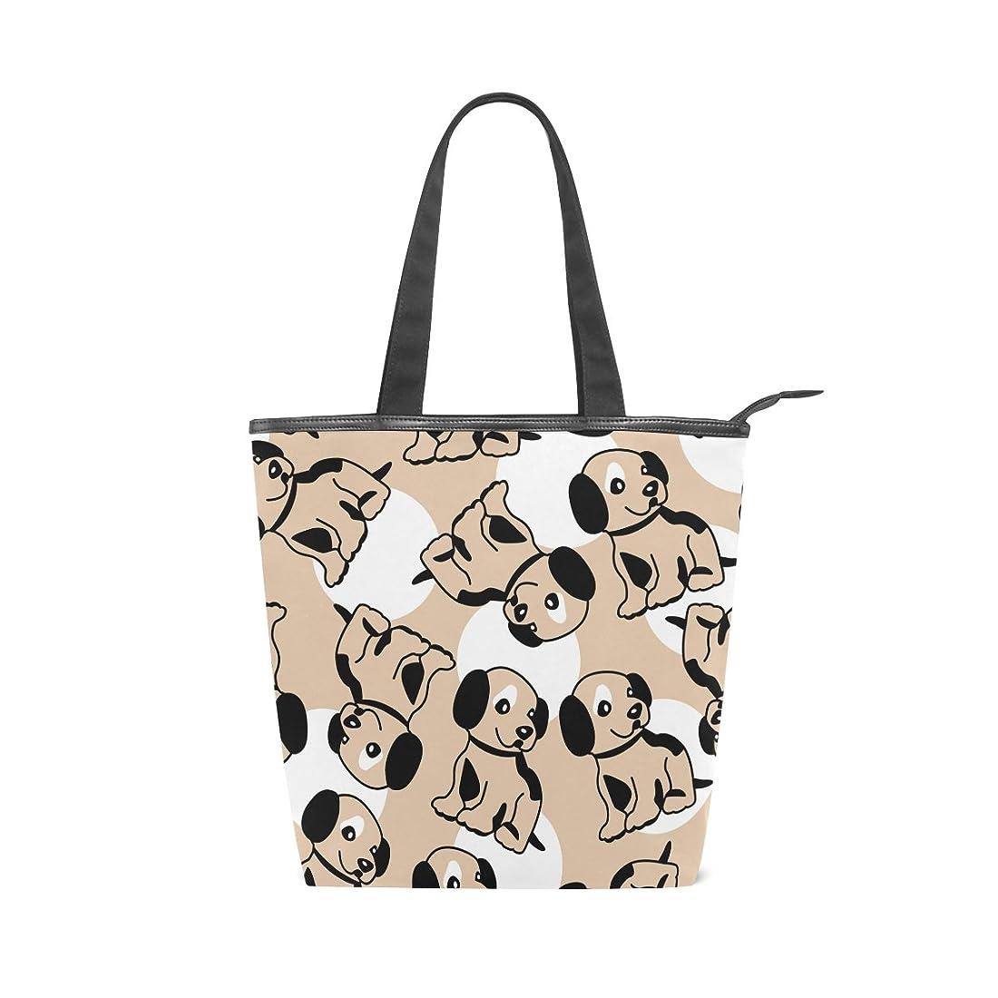 部門コスト肉腫キャンバスバッグ トートバッグ ハンドバッグ 手提げ 子犬柄 可愛い 大容量 通勤通学 メンズ レディース