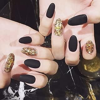 Sethexy 24 Pcs Almond False Nails Matte Black&Glitter Gold Full Cover Acrylic Fake Nails for Women and Girls