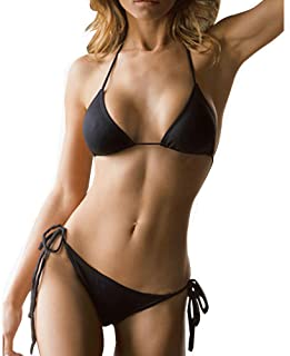 10 Solid Color Women's Thong Bikini Set String Swimsuit for S-XL Body