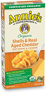 Annie's Organic Shells & Real Aged Cheddar Macaroni & Cheese, 12 Boxes, 6oz (Pack of 12)