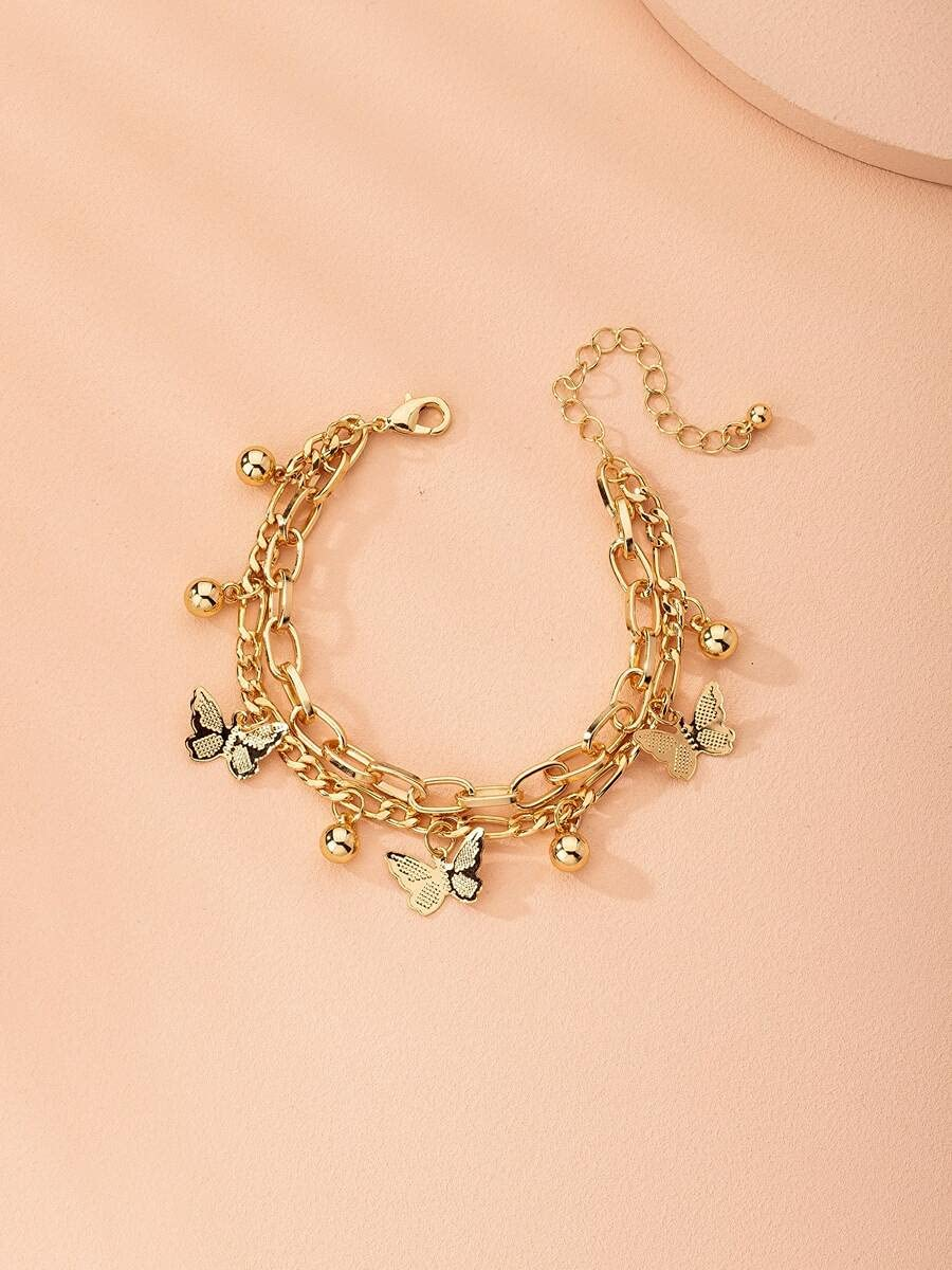 xiangshang Albuquerque Mall shangmao Charm Bracelets Metal Butterfly Discount mail order Bracelet Co