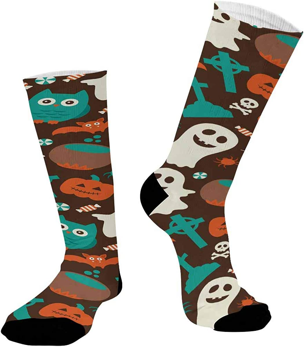 INTERESTPRINT Athletic Sublimated Crew Socks for Adults Halloween Pumkin, Ghost, Owl