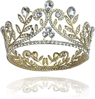 Earofcorn جديد أغطية الرأس الزفاف تاج الذهبي اكسسوارات الشعر الزفاف الزفاف جولة تاج اكسسوارات الزفاف للنساء بالجملة