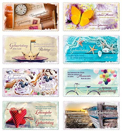 PremiumLine Geburtstagskarten Set 8 Stück DIN Lang inkl. Briefumschlag Glückwunschkarte Happy Birthday Grußkarte mit Spruch Klappkarte