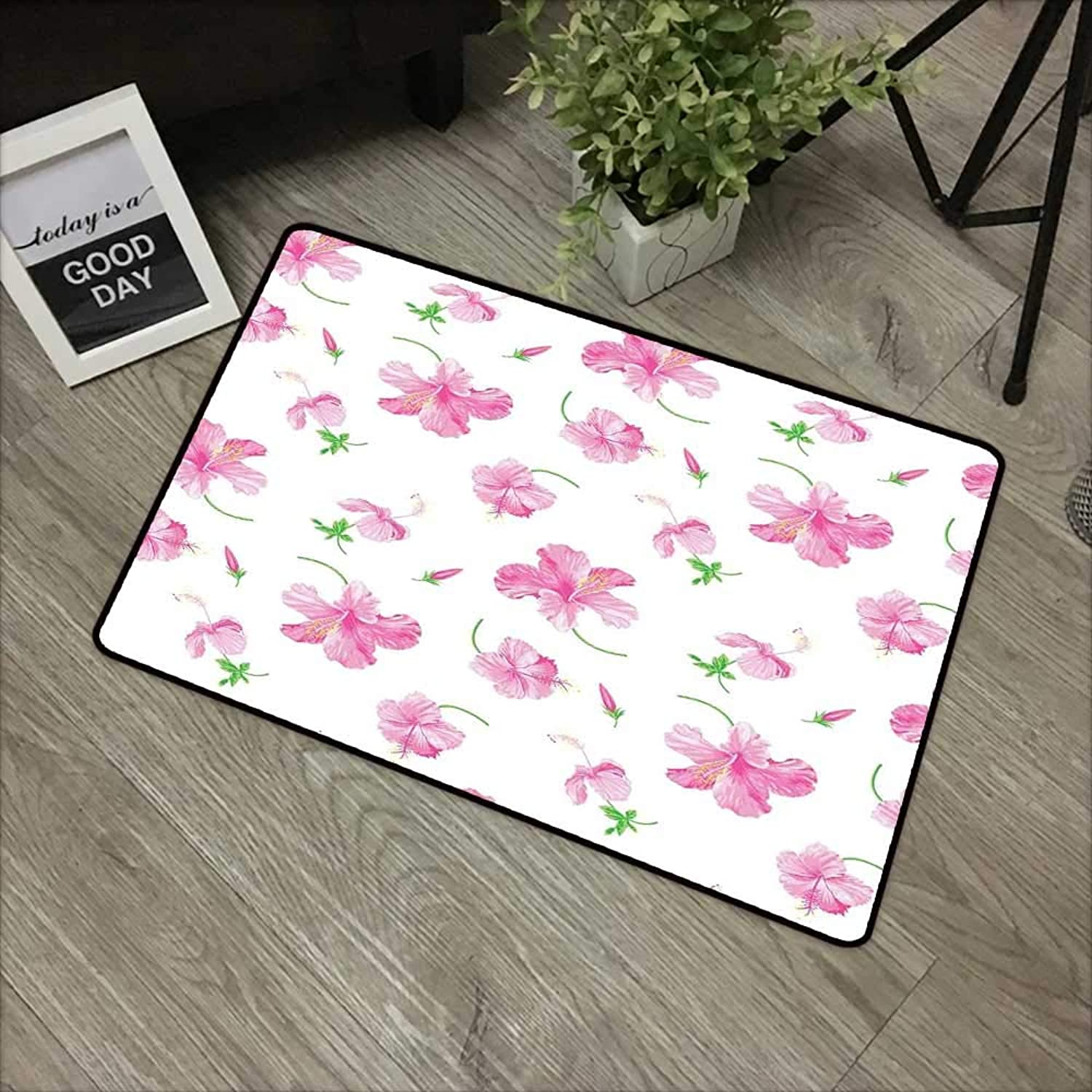 Interior door mat W35 x L59 INCH Floral,Hibiscus Flowers on Plain Background Decorative Floral Patterns Country Style Home Decor,Pink White Easy to clean, no deformation, no fading Non-slip Door Mat C