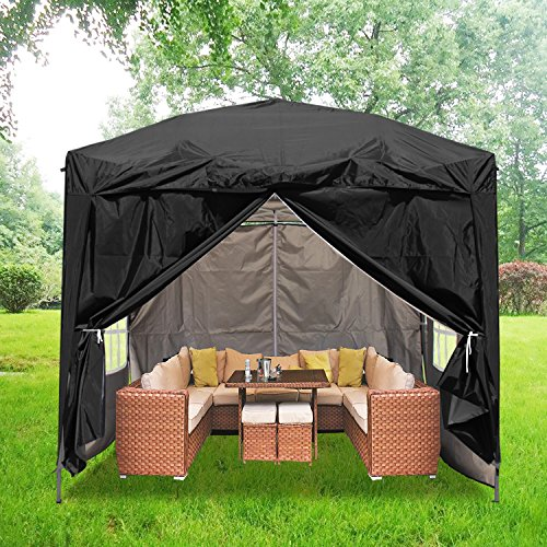 Greenbay 2.5x2.5m Pop Up Gazebo - Frame & Canopy & 4 Sides & Carringbag Outdoor Marquee Tent - Party Wedding Tent Gazebo with Silver Protective Layer (Black)