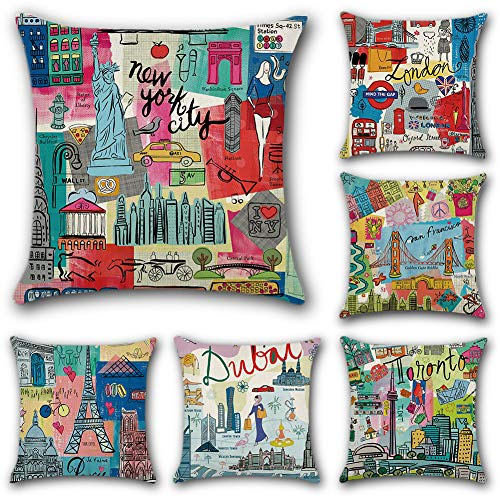 JOTOM Cotton Linen Throw Cushion Pillow Covers Square Pillowcase Home Decorative for Office Sofa Bed Cushion Cover Set of 6,45x45cm (Cartoon City)