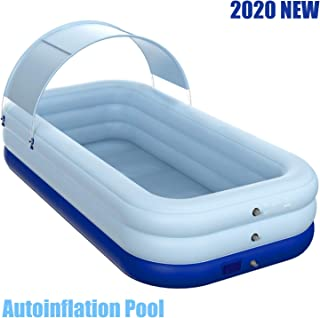 HKLIVE Automatic Inflatable Swimming Pool 260x160x68 cm, Full-Sized Summer Inflatable Pool with Sunshade for Kids, Adults, Easy Set Swimming Pool Family Water Party (Light Blue)