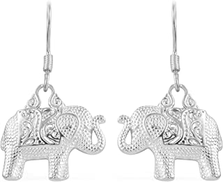 Dangle Elephant Trunk Silly .925 Sterling Silver Whimsical Animal Earrings