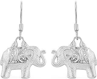 925 Sterling Silver Elephant Lever Back Dangle Drop Earrings for Women Jewelry Gift 4 g