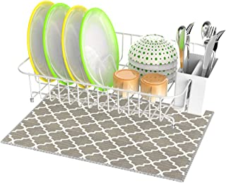 Dish Drying Rack, Veckle Dish Rack with Microfiber Dish Drainer Mat, Utensil Holder, Cutting Board Holder Dish Wire Rack for Kitchen Countertop, White
