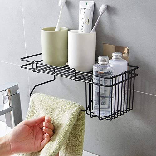 ORPIO (LABEL) Stainless Steel Wall Mounted Hanging Storage Holder with Towel and Tissue Rack, Kitchen Wall Spice Rack, Shower Caddy for Bathroom and Kitchen Stand- Black product image