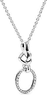 [パンドラ] Pandora Moments Knotted Heart ペンダント ネックレス 60 cm クリア (スターリングシルバー, シリコン, キュービックジルコニア) 正規輸入品 398078CZ-60