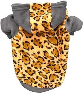 guohanfsh Fashion Cute Winter Warm Velvet Clothes Hoodie Leopard Print Short Sleeve Puppy Dog Pet (1Pcs)