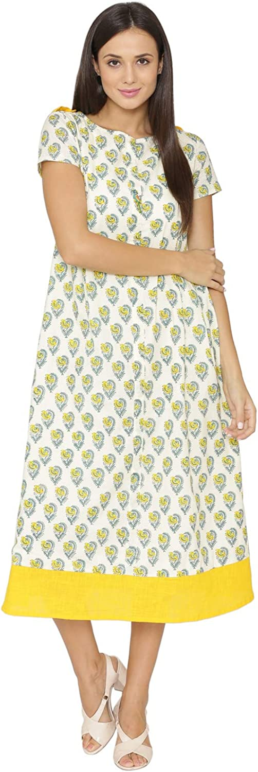 PINKSHINK Women's Yellow Casual Summer Pure Cotton Loose Dress with Pockets