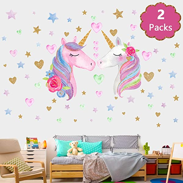 SONG S IDEA Large Size Unicorn Wall Decal 2Packs Unicorn Wall Sticker Decor With Hearts And Stars For Girls Rooms Baby Nursery