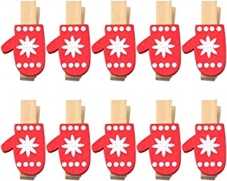Healifty 25pcs Wooden Clothespins Christmas Gloves Photo Paper Peg Pins Clip Photo Holders with Jute Twine for Art Craft P...