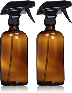SODIAL Empty Amber Glass Spray Bottles with Labels (2 Pack) - Refillable Container for Essential Oils, Cleaning Products, or Aromatherapy