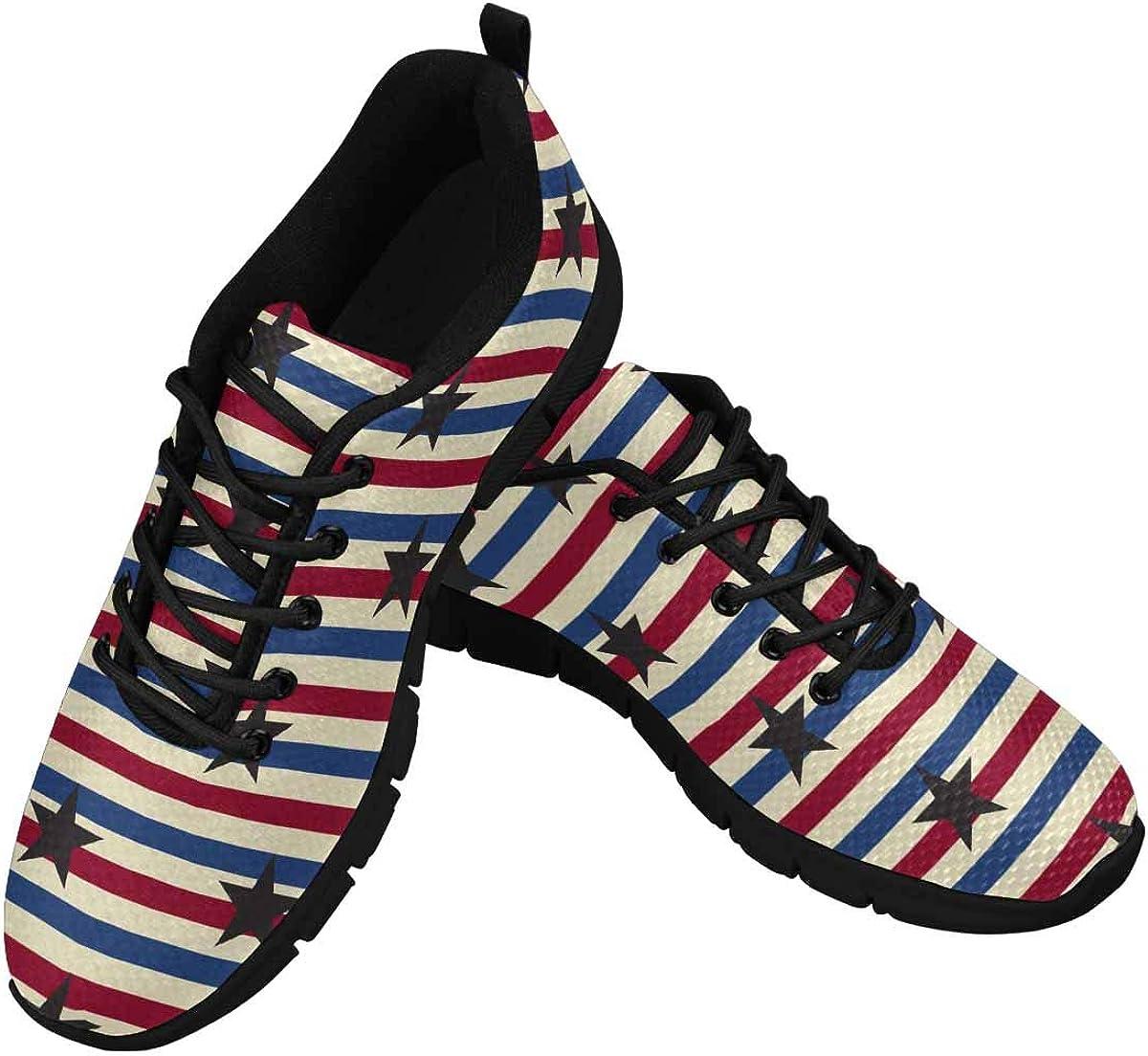 InterestPrint American Stars Stripes Pattern Women's Breathable Comfort Mesh Fashion Sneakers