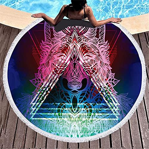 Alrededor de 150x150 cm Ballena Azul Color Cebra patrón de Dibujos Animados Engrosado Agua Absorbente Suave cinturón Temps Circular Playa Toalla de Playa-C4 Super Absorbente y Toallas de natac
