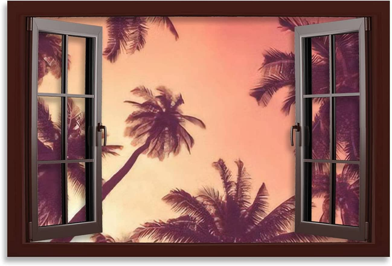 Canvas Wall Poster High quality new Price reduction Artwork Picture Tropical color palm with tree