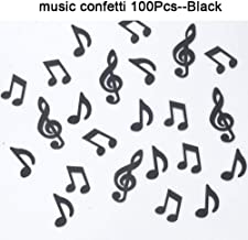 GAKA Black Glitter Music Note Paper Confetti Table Confetti,Music Clef Table Confetti for Music Themed Events Rock Star Party,Karaoke Party Supplies Decorations Pack of 100