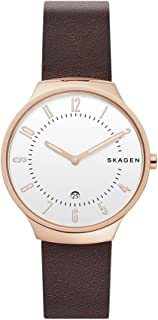 Skagen Men's Quartz Watch analog Display and Leather Strap, SKW6458