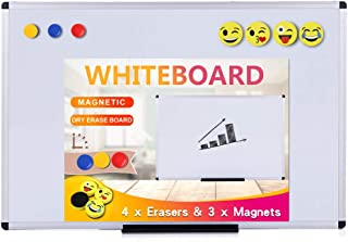 VIZ-PRO Magnetic Whiteboard/Dry Erase Board, 36 X 24 Inches, Includes 4 Smiley Face Circular Erasers & 3 Magnets