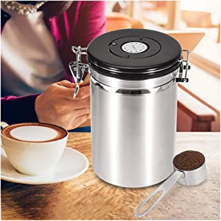 Unine Premium Stainless Steel Coffee Canister, Coffee Container Airtight Storage with CO2-Release Valve and Scoop,Fresher Beans and Grounds for Longer,Easy Portioning,Large Food Bins & Canisters