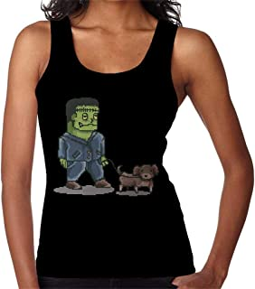 RHEYJQA Retro Pixel Frankenstein Dog Walker Women's Vest