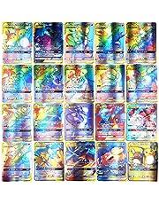 Fangteke 100 Stks Pokemon Art Card Set Kinderen GX Trading Cards Cartoon Game Card met 115 GX Pokemon Kaarten en 5 Mega Pokemon Kaarten
