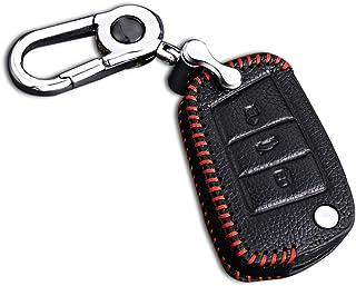 Schlüssel Hülle Leder Auto Schlüsseltasche mit schlüsselanhänger für 3 Tasten Klappschlüssel Fernbedienung Autoschlüssel Rotes Nähen 1 Stück Modell B