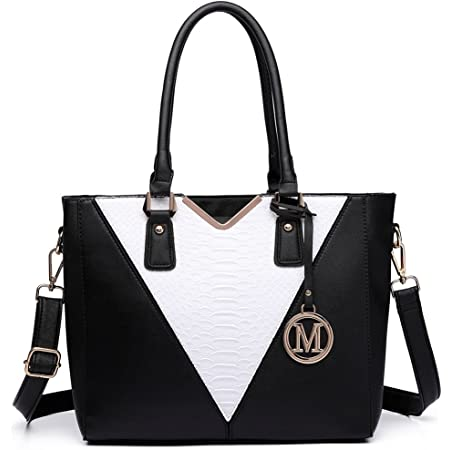 Miss Lulu Pu Ledertasche Damen Schultertasche Handtasche… (Schwarze Edition)