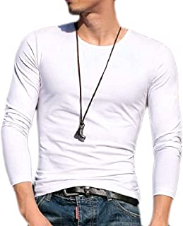 Men Long-Sleeve Fashion Solid-Colored Slim Fitting Tops T-Shirt Tees