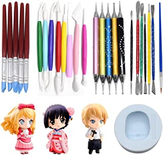 AK ART KITCHENWARE Clay Sculpture Tools Kit with Caking Decorating Doll Making Silicone Mold 5 Types Clay Modeling Sculpting Set for Craving and Shaping
