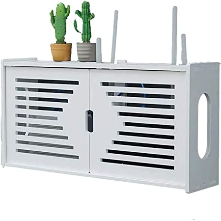 zhouxi PVC Multifuncional Set-Top Box Rack Router WiFi Caja Almacenamiento Gestión Alambre Caja Ranura,Salón Pared Router WiFi Plataforma Set-Top Box Flotante Estante DecoraciónA